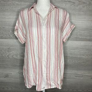 Pink White Striped Top by Beachlunchlounge XS